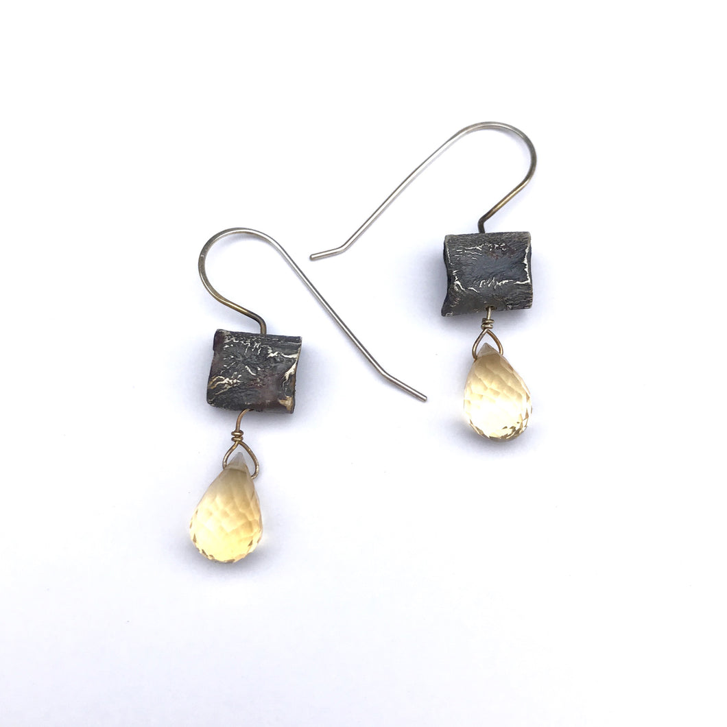 Citrine earrings with oxidized silver - rustic silver earrings - black and yellow gemstone - elegant unique handmade earrings