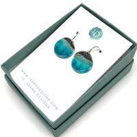 Blue Ocean Earrings - Sterling Silver & Aqua Blue Enamel