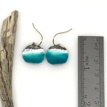 Load image into Gallery viewer, Blue Ocean Earrings - Sterling Silver & Aqua Blue Enamel