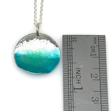 Load image into Gallery viewer, Circle Ocean Necklace - Sterling Silver & Aqua Blue Green Enamel
