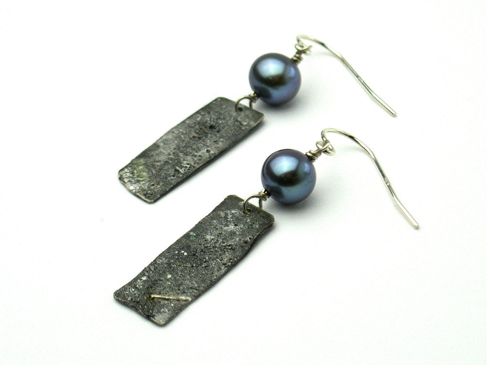 Rustic silver earrings with peacock blue freshwater pearls - dark gray recycled sterling silver rectangle - lightweight dangle earrings