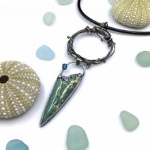Load image into Gallery viewer, Rustic Beach Necklace, One of a Kind Pendant with Chrysoprase, Blue Topaz and Sterling Silver