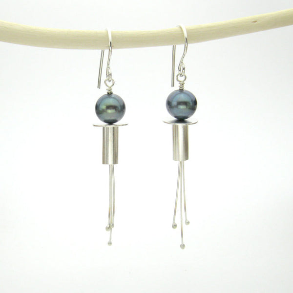 Modern pearl earrings dangle with peacock blue pearls and sterling silver - elegant unique handmade jewelry - medium length