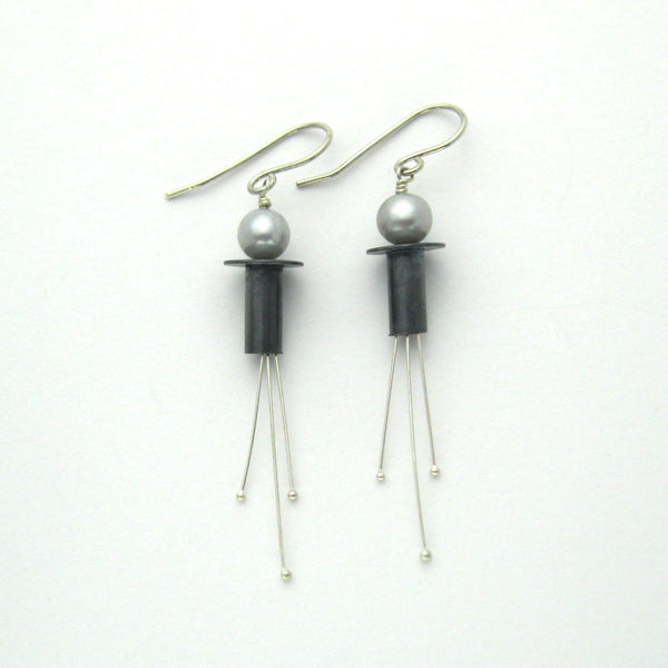 Modern Pearl Earrings - Oxidized Black & Silver - Handmade Fuchsia Dangle