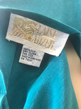 Load image into Gallery viewer, 1980's Teal Silk Asymmetrical Drape Dress by Laise Adzer