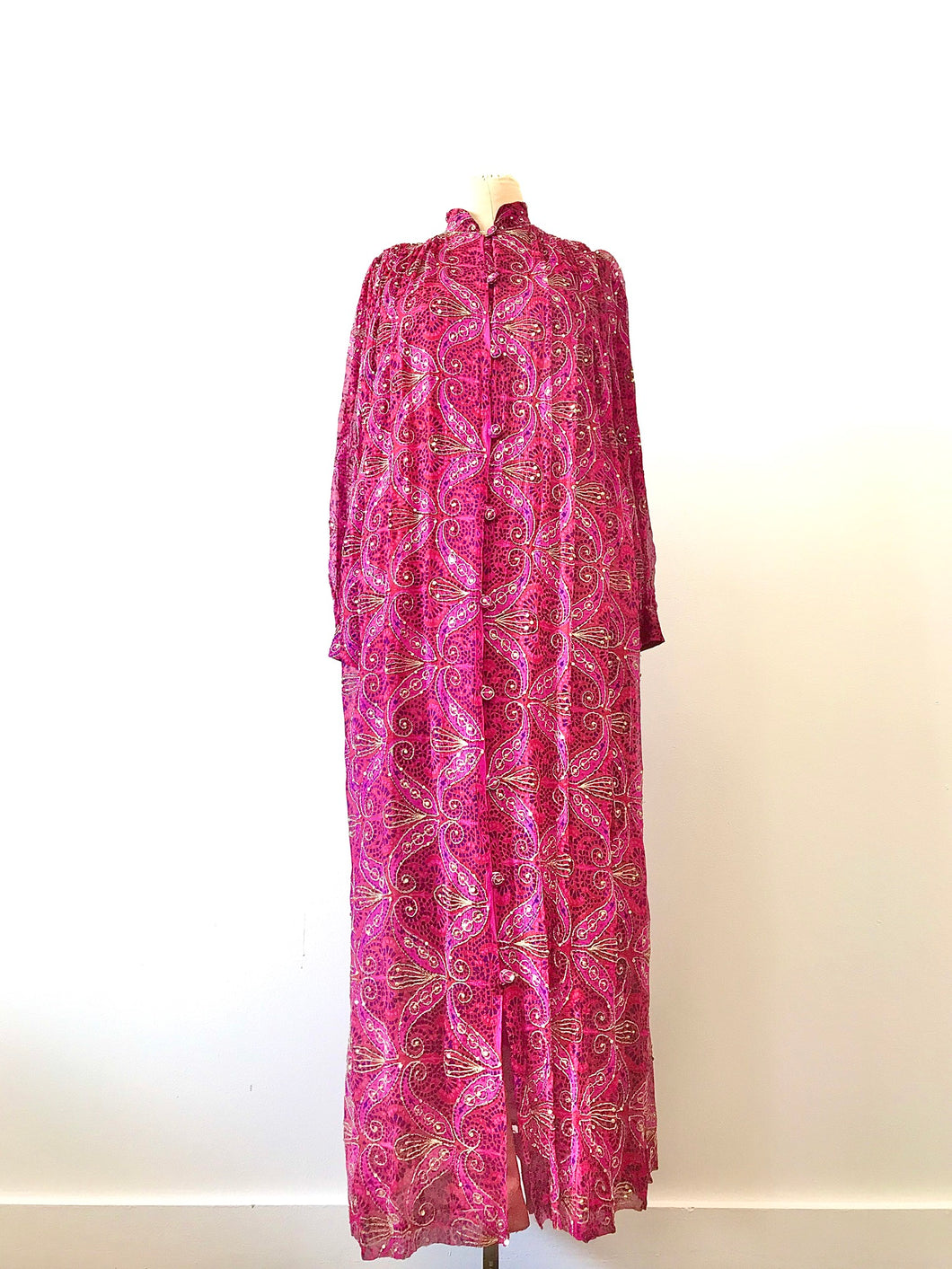1970's India Pink, Purple & Gold Silk & Sequins Duster