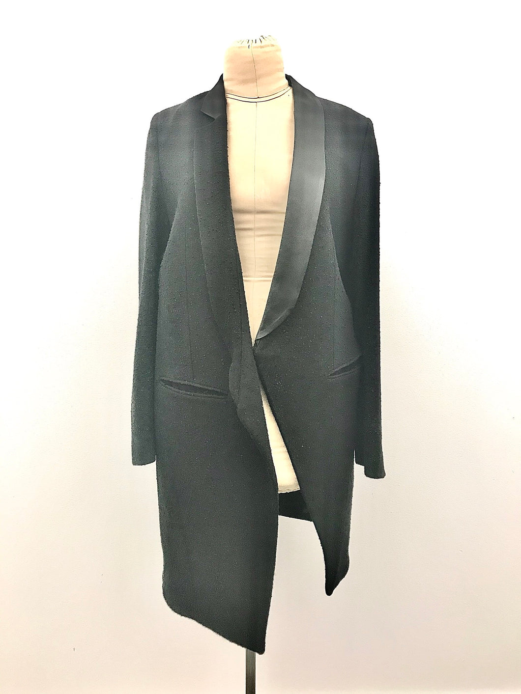 Black textural Asymmetrical Collared Blazer by Ann Demeulemester