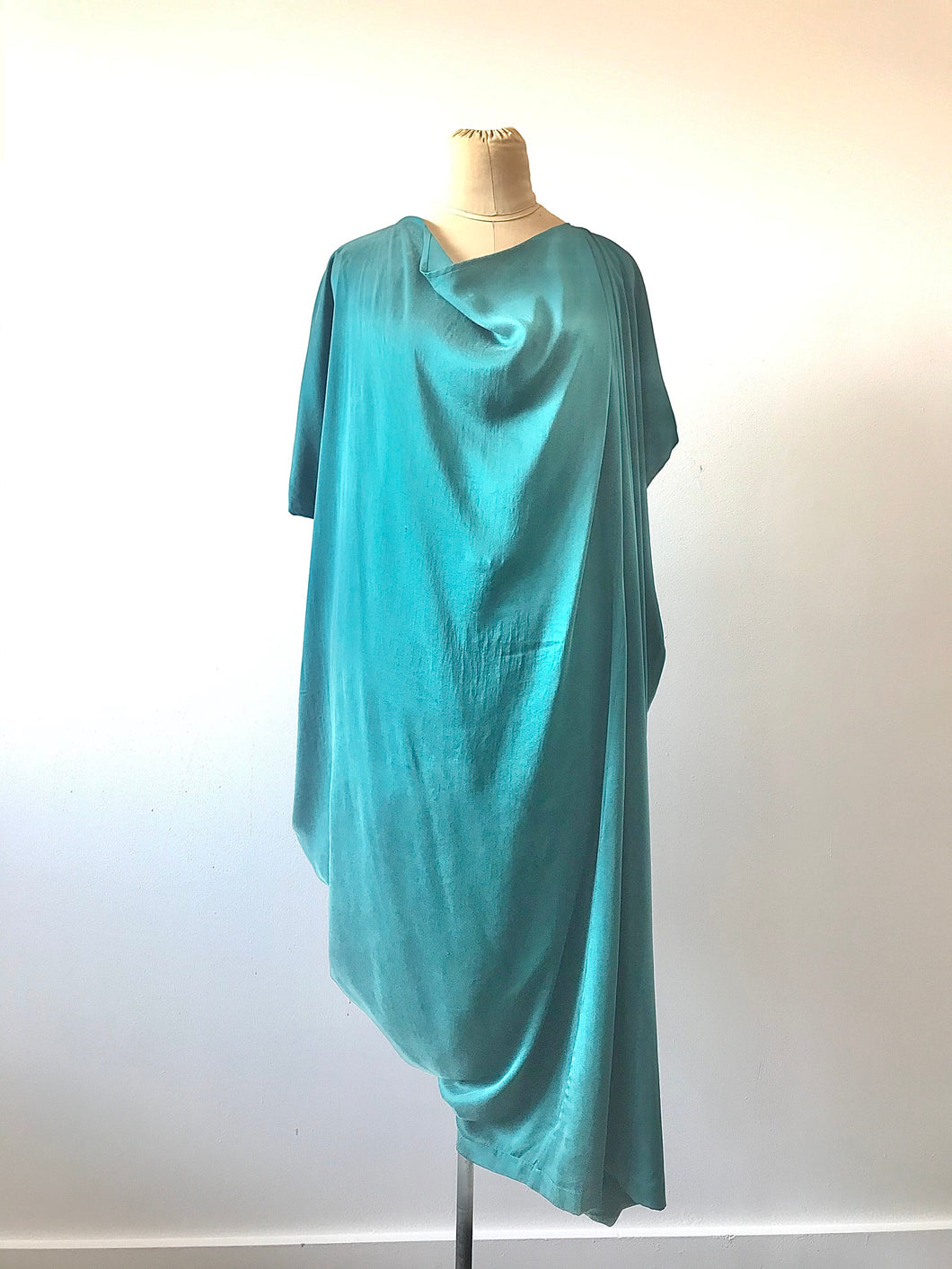 1980's Teal Silk Asymmetrical Drape Dress by Laise Adzer