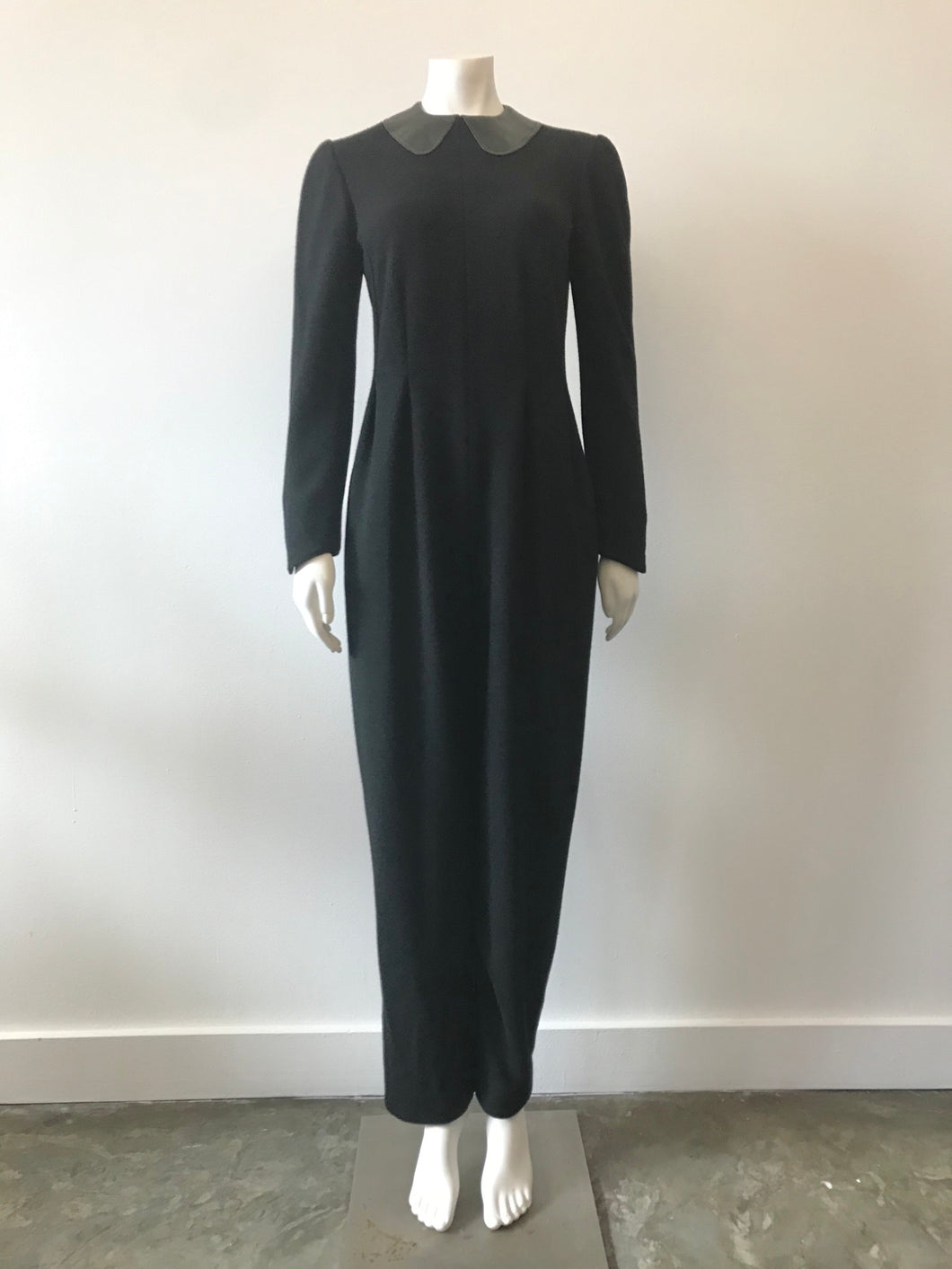 1980's Black Wool Jumpsuit w/ Leather Collar by Geoffrey Beene