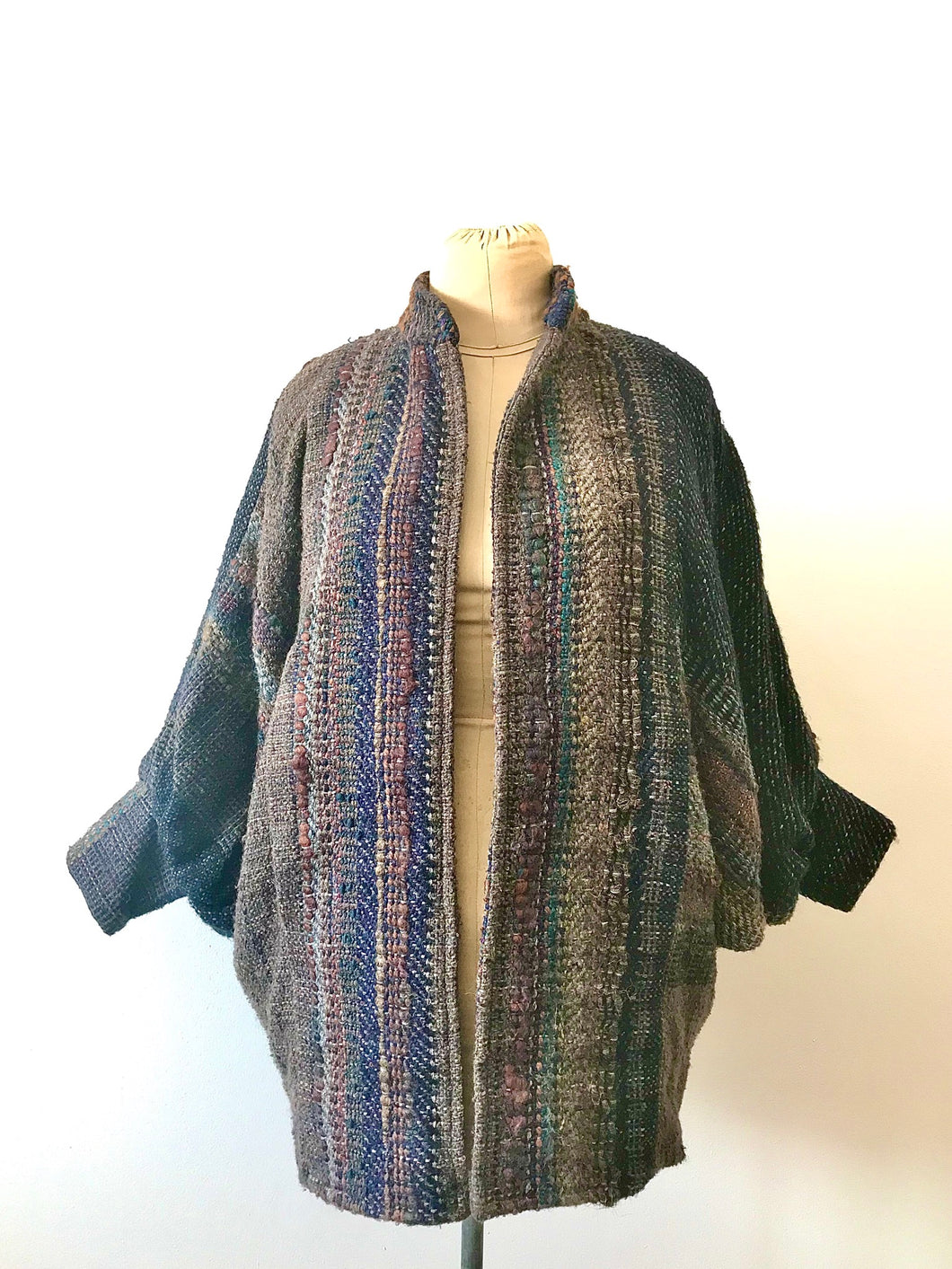 1980's Woven Textural Bat Wing Coat by Jasmine