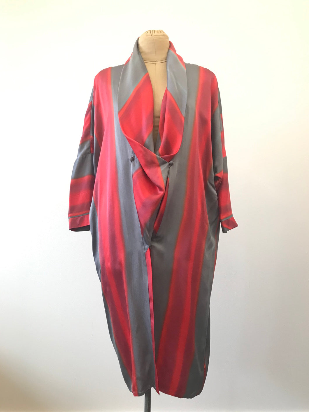 1980's Silver & Pink Silk Duster by David Polizzi