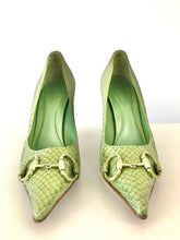 Load image into Gallery viewer, 1990's Green Snake Skin Horse Bit Heels by Gucci