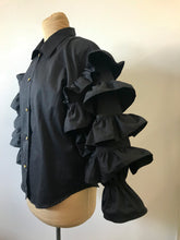 Load image into Gallery viewer, 1990's Black Cha Cha Ruffle Blouse by Fashionplate