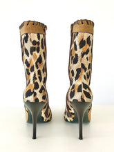 Load image into Gallery viewer, 2000's Leopard Print Fabric Stiletto Ankle Boots by Casadei