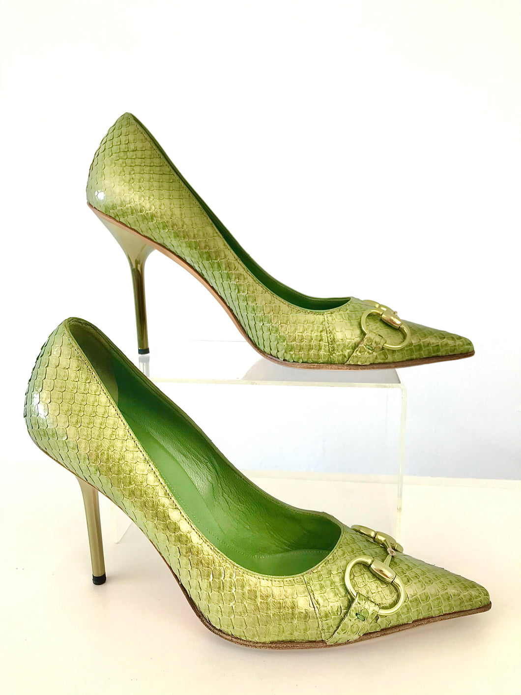 1990's Green Snake Skin Horse Bit Heels by Gucci