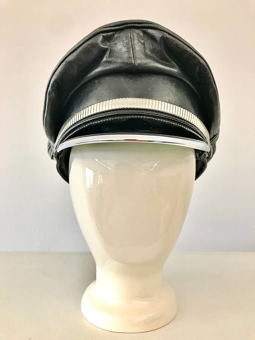 1980's Leather Biker Cap with Silver Trim
