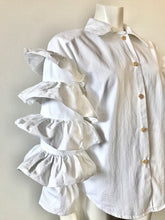 Load image into Gallery viewer, 1990's White Cha Cha Ruffle Sleeved Cotton Blouse by Fashionplate