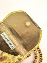 Load image into Gallery viewer, 1980's Yellow Snake Print Leather Mini Purse by Arlene LaMarca