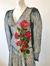 Load image into Gallery viewer, 1930's Black Lace Gown with 3 Dimensional Velvet Roses