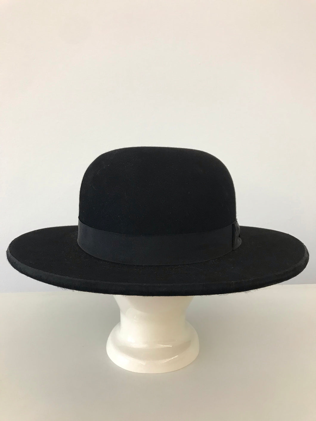 Antique Black Wool Felt Clergyman Style Hat By Scott & Co.