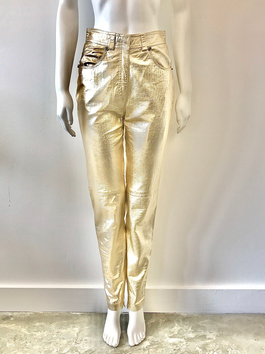 1980's Metallic Gold Reptile Print Leather Pants By Gianni Versace