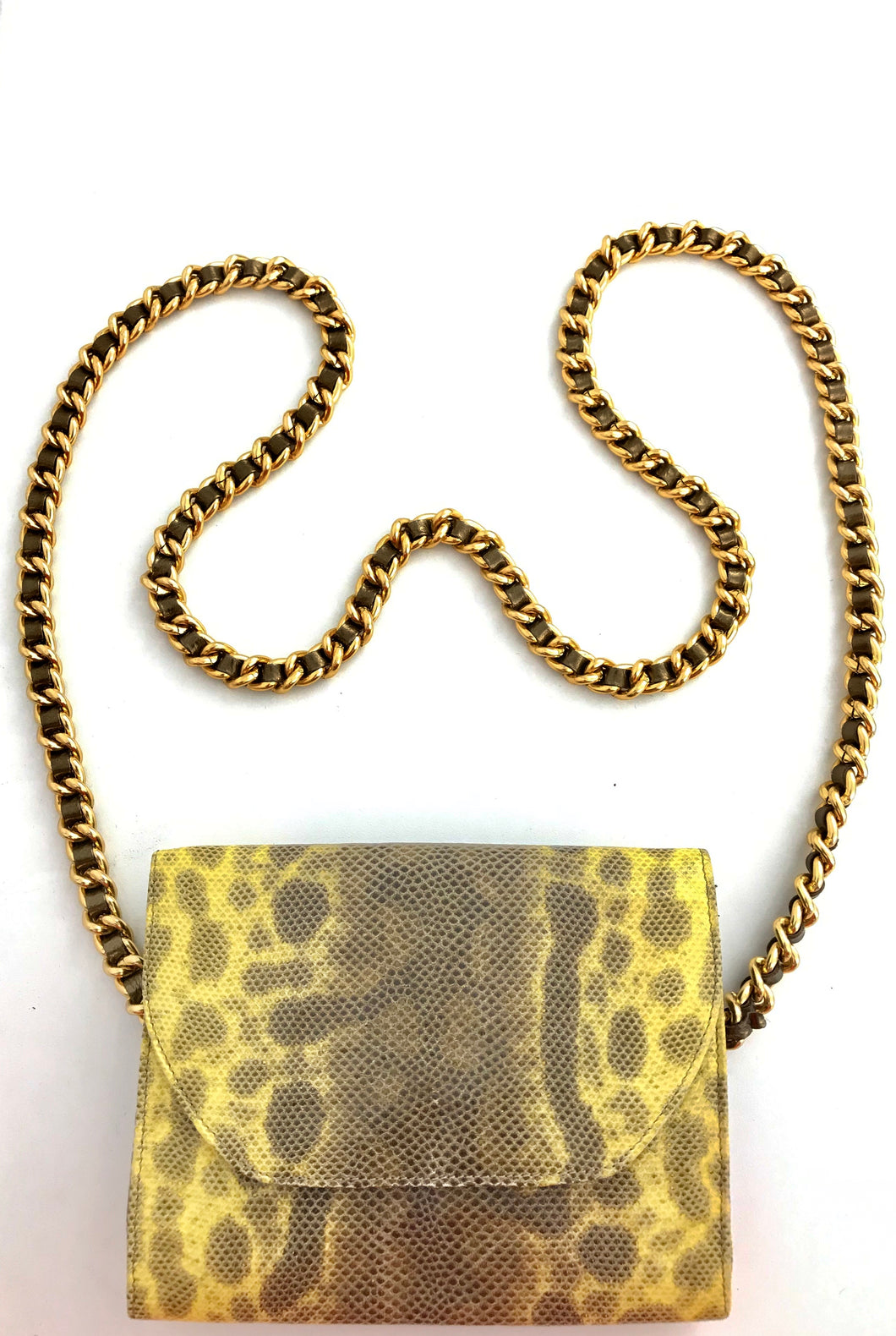 1980's Yellow Snake Print Leather Mini Purse by Arlene LaMarca