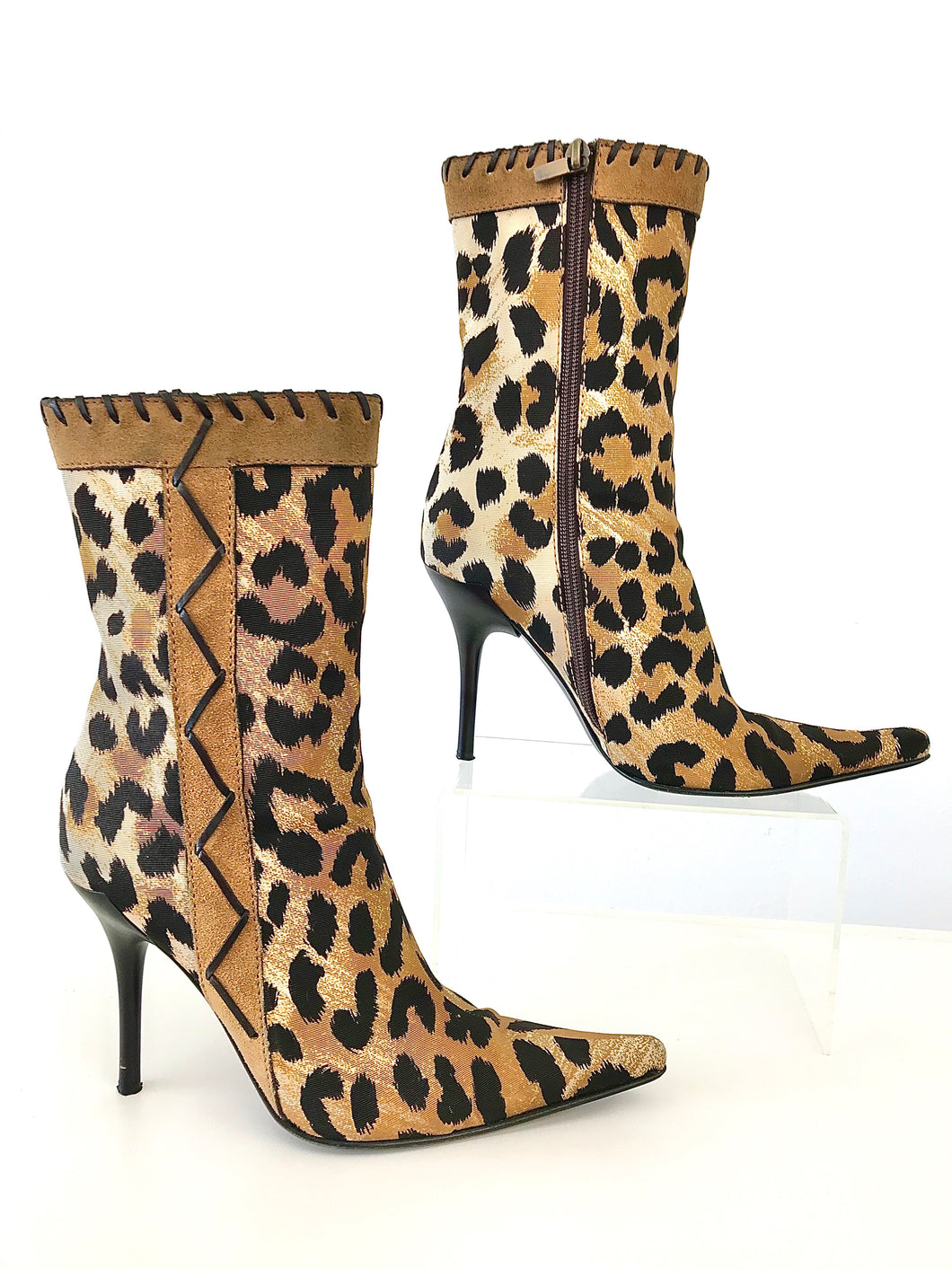 2000's Leopard Print Fabric Stiletto Ankle Boots by Casadei
