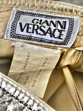 Load image into Gallery viewer, 1980's Metallic Gold Reptile Print Leather Pants By Gianni Versace