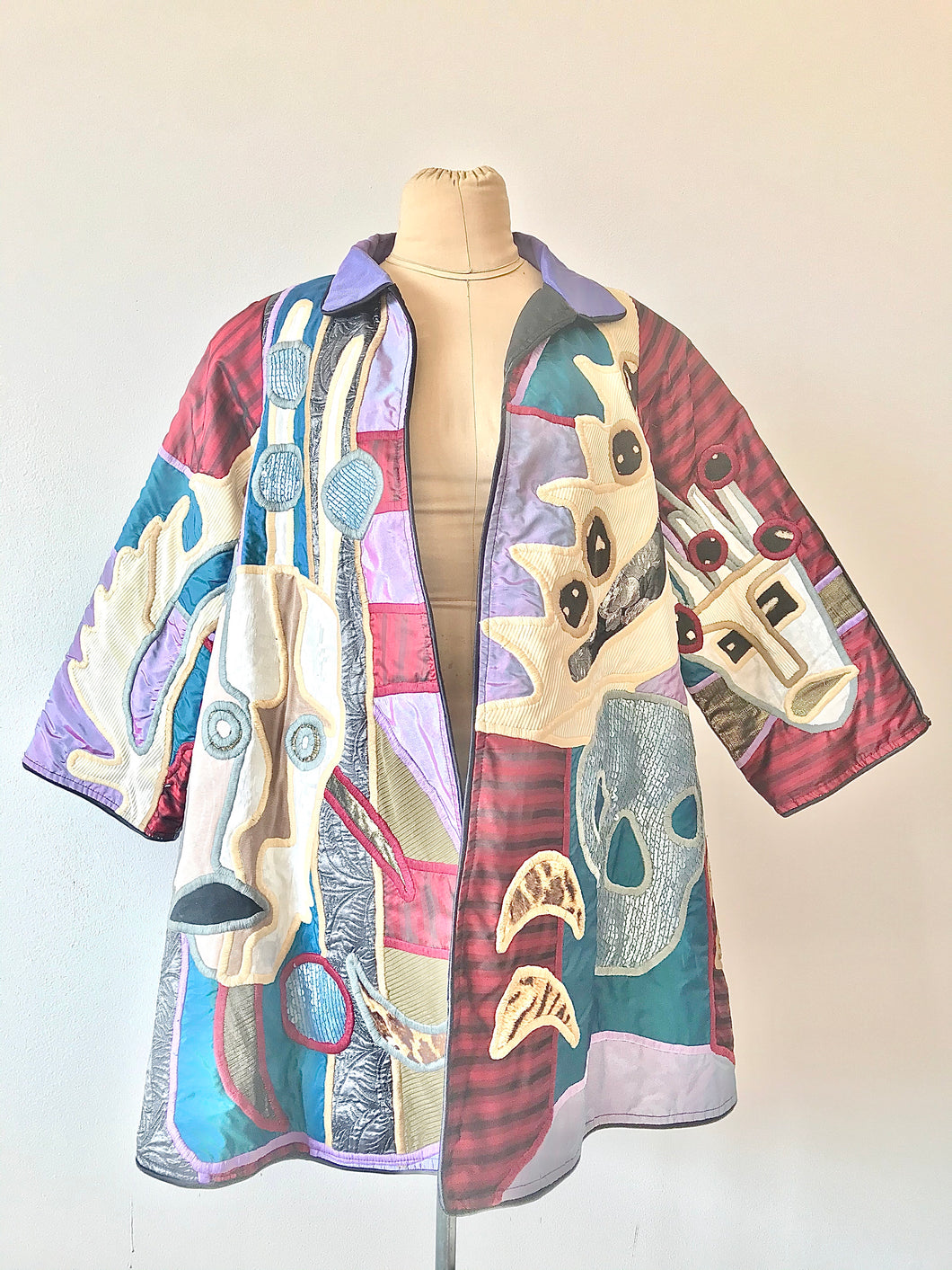 1980's Skull Applique Swing Coat by Judith Roberts