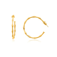 Load image into Gallery viewer, Bamboo Gold Hoop Earrings