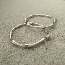 Load image into Gallery viewer, Bamboo Silver Hoop Earrings