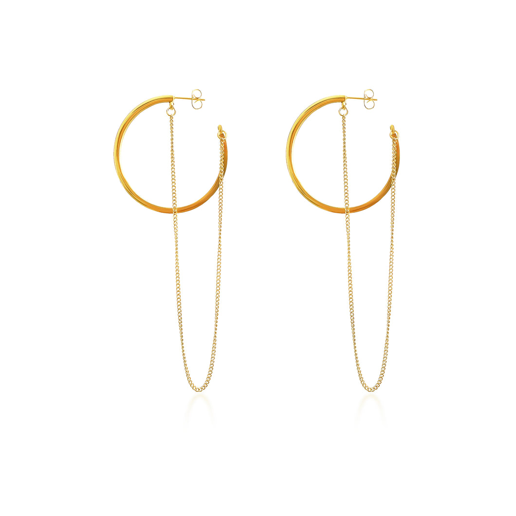 Ana Hoop and Chain Earrings