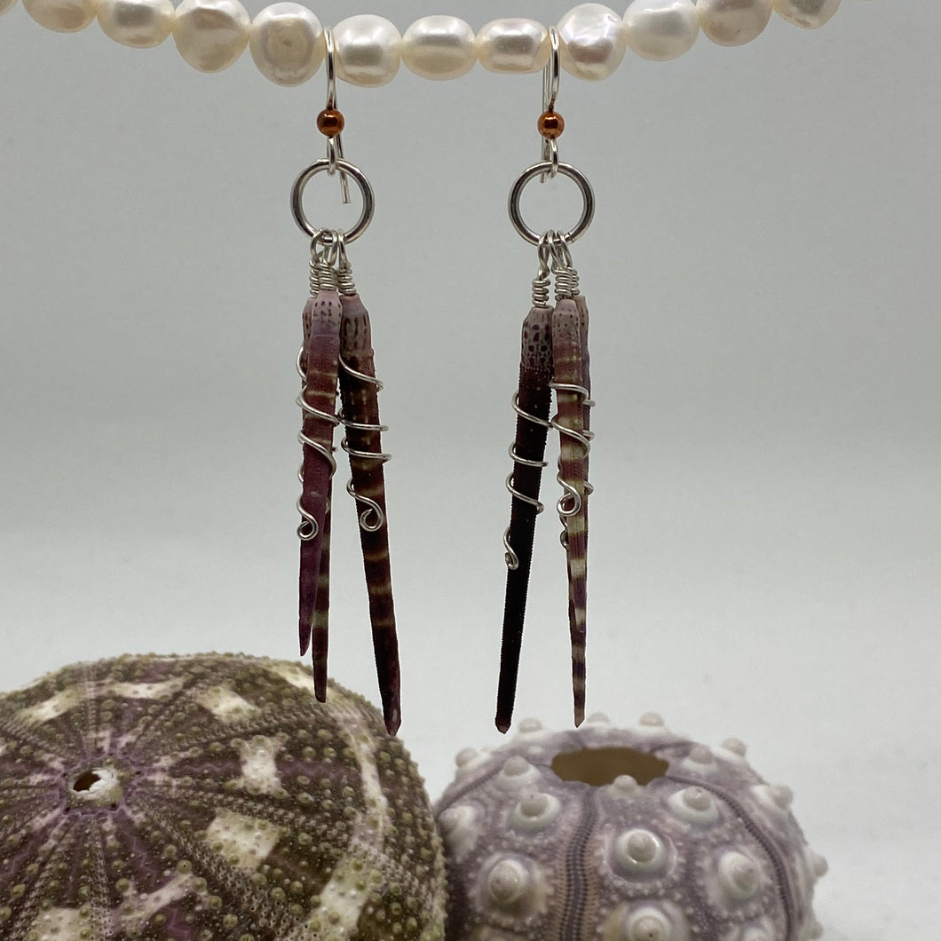 Spiny Sea Urchin 3-Spine Wrap Sterling Silver Earrings