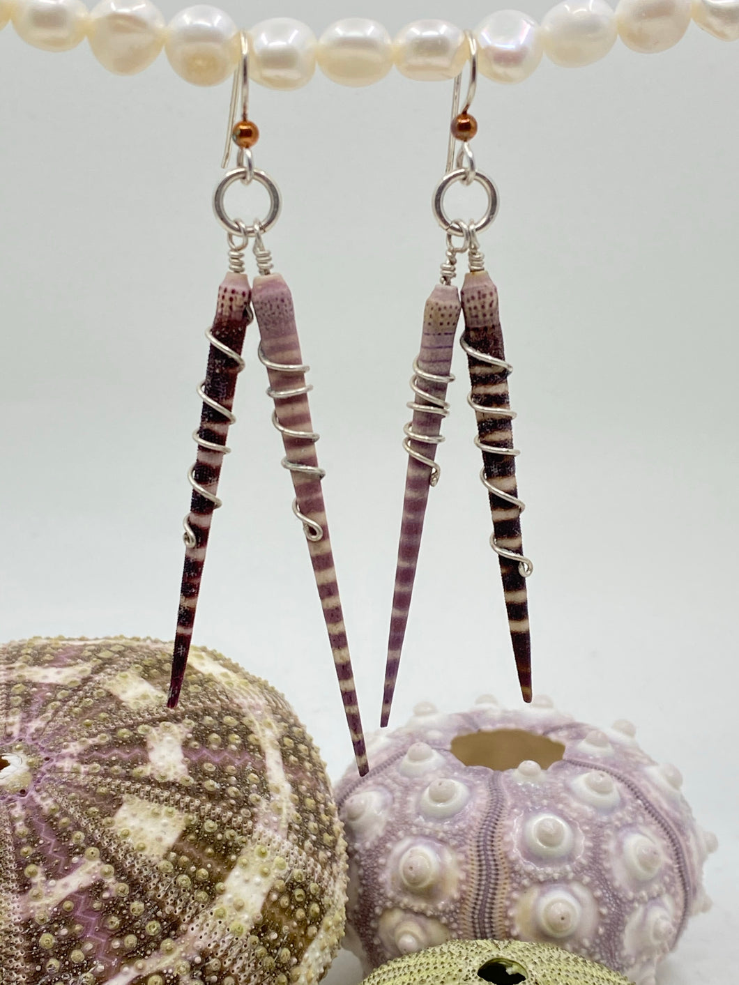Spiny Sea Urchin 2-Spine Wrap Sterling Silver Earrings