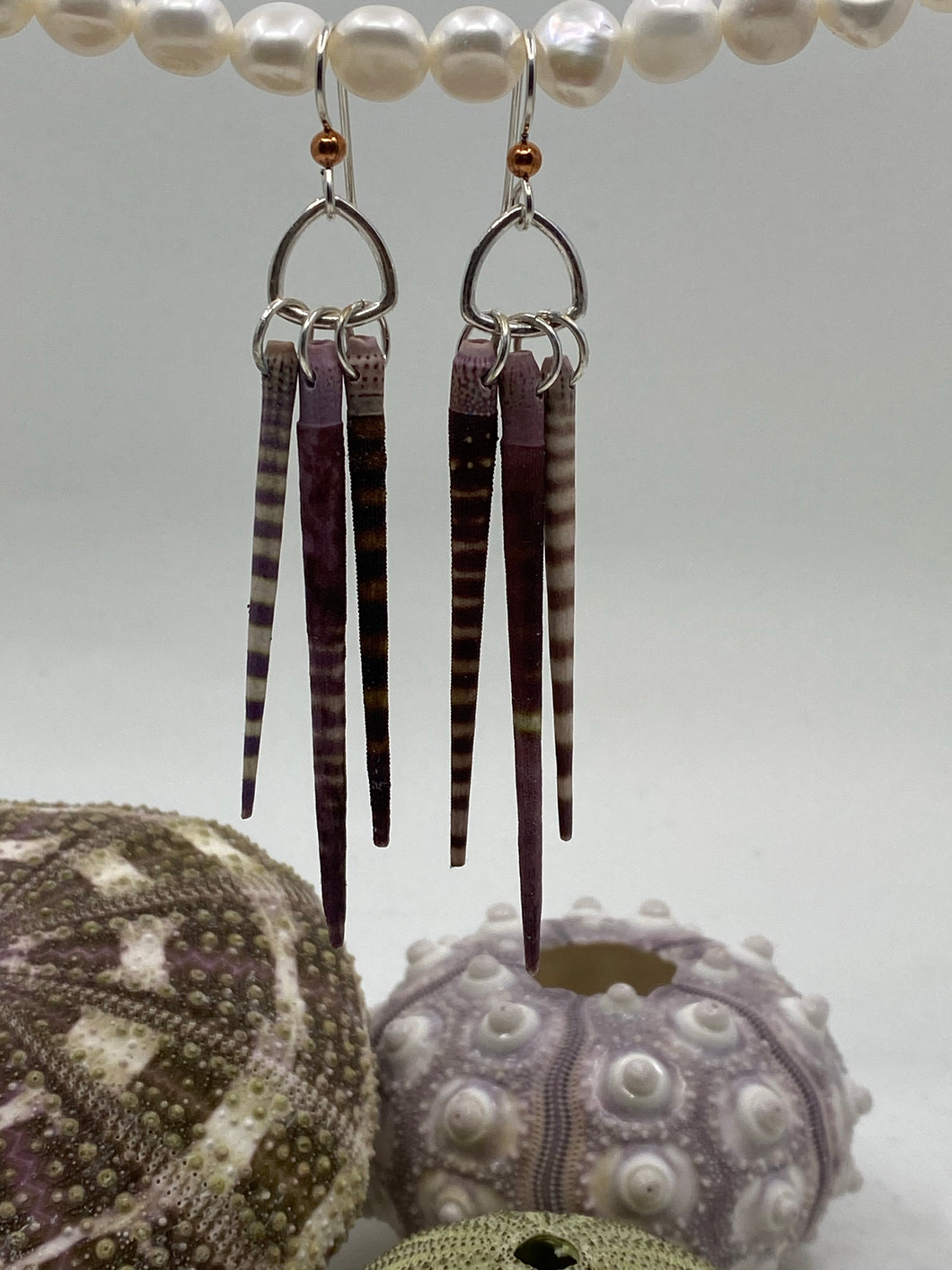 Spiny Sea Urchin 3-Spine Triangle Sterling Silver Earrings