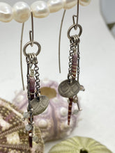 Load image into Gallery viewer, Sea Urchin Labradorite Mermaid Dangle Sterling Silver Earrings