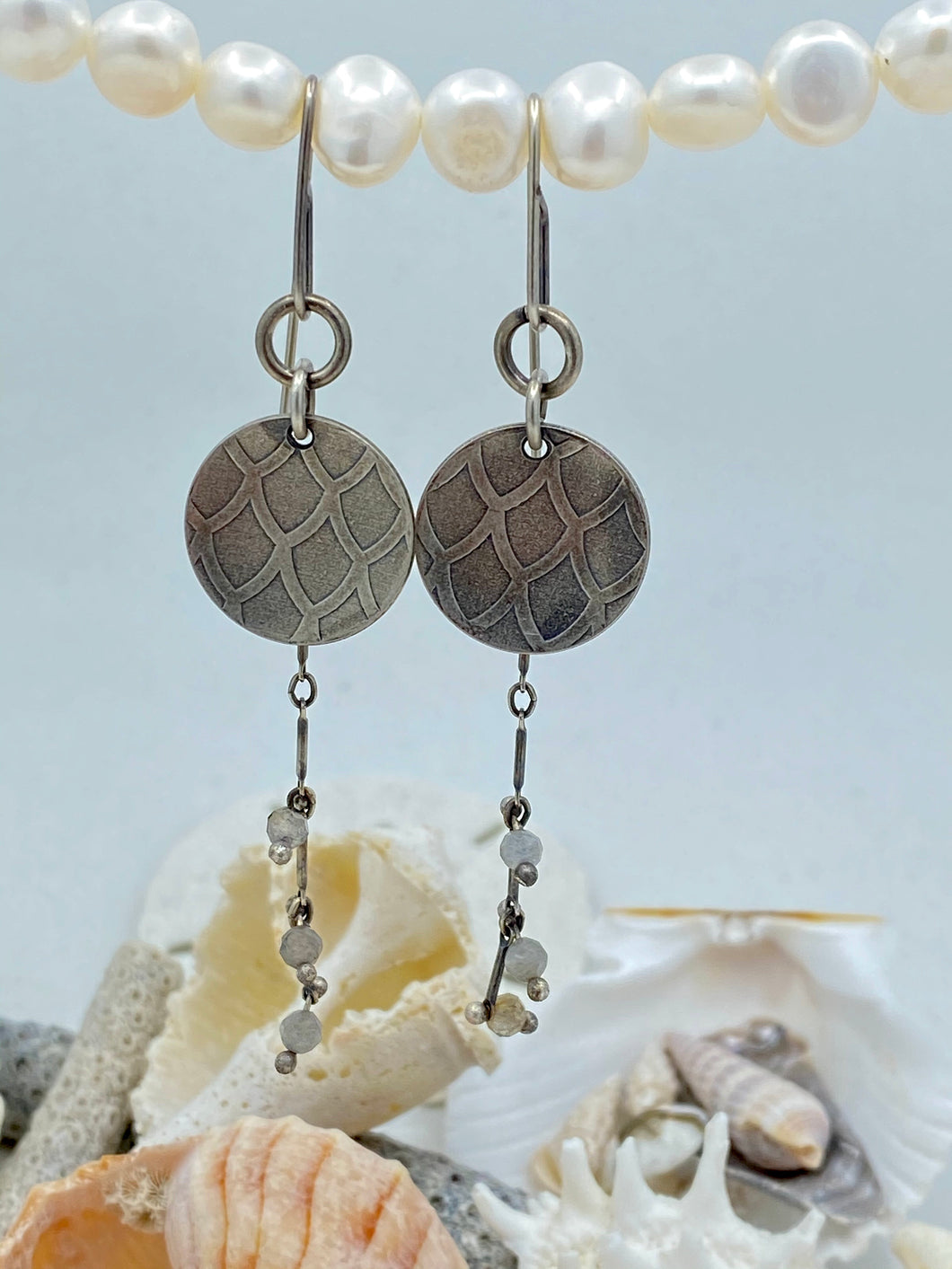 Mermaid Small Disc Labradorite Earrings