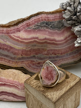 Load image into Gallery viewer, Rhodochrosite Stalactite Silver Ring ~17mm Size 6