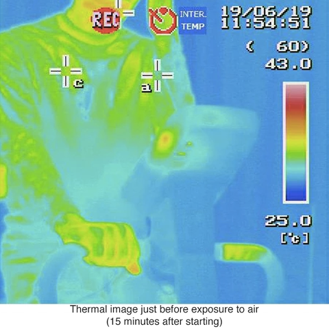 Freeze Tech test, body temperature seen tru infrared camera before cold effect starts