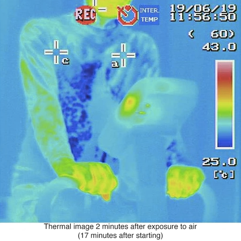 Freeze Tech test, body temperature seen tru infrared camera after cold effect starts