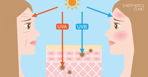 UV radiation types and how it damages human skin layers.