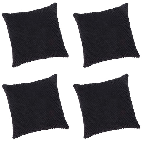 Pack Of 4 Chenille Spot Black Textured Cushion Cover - CLEARANCE PRICE