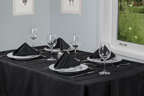 Linen Look Black Tablecloth Mega Bargain Package Sets