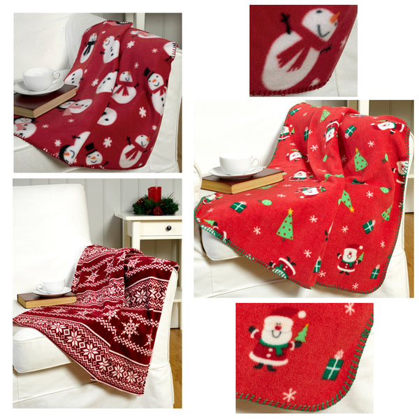 Triple Pack Santa, Snowman And Nordic Design Christmas Throwovers/Blankets
