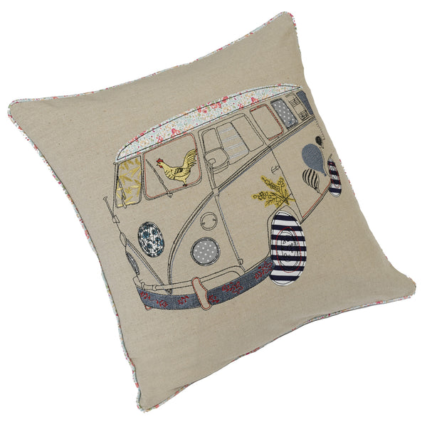 Retro Surfer Natural Cushion Cover