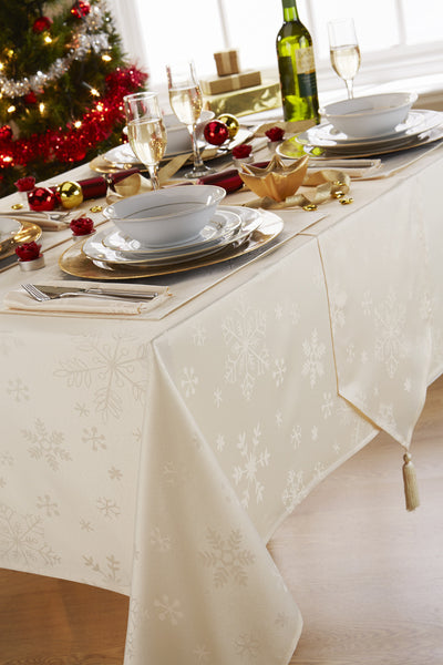 Blizzard Cream Christmas/Xmas Tablecloth And Napkin Package Sets