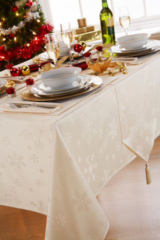 Blizzard Cream Christmas Tablecloth Mega Package Sets