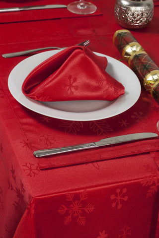 Blizzard Red Christmas/Xmas Tablecloths And Accessories (Sold Seperately)