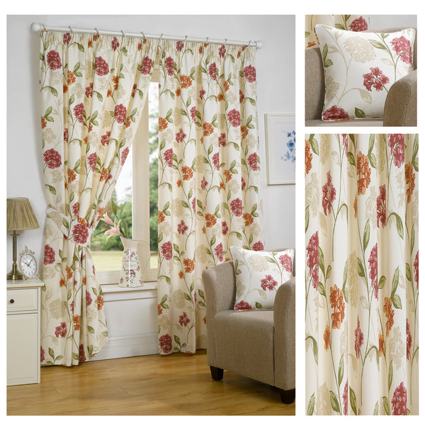 Bouquet Pink/Multi Floral Pencil Pleat Lined Readymade Curtains