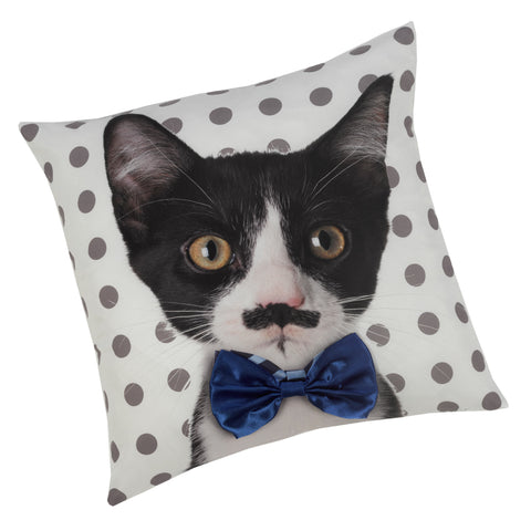 Novelty Bow Tie Cat  Animal Print Cushion Cover